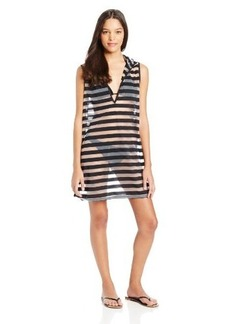 Kenneth Cole Reaction Women's Mod Stripes Sleeveless Hooded Cover Up