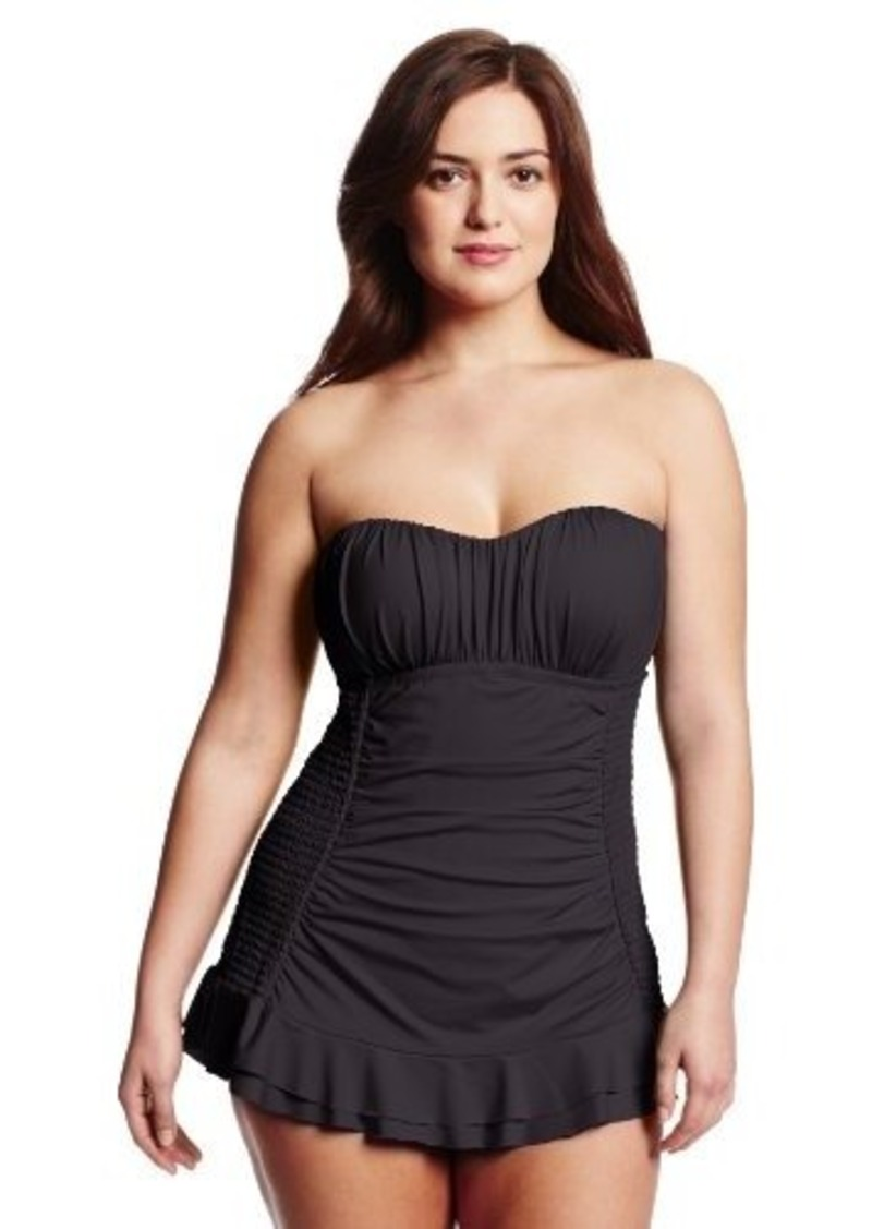 Kenneth Cole Reaction Women's Plus-Size Ruffle-Licious Bandeau Swim Dress