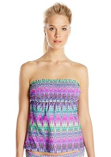 Kenneth Cole Reaction Women's The Zig To My Zag Smocked Tankini Top