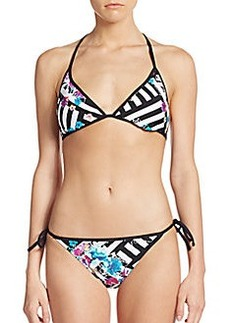 Kenneth Cole Reversible Stripe Triangle Bikini Top