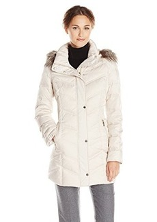 Kenneth Cole Women's Chevron Down Coat with Faux-Fur Trim
