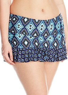 Kenneth Cole Women's Plus-Size Coastal Escapade Rouched Skirted Bikini Bottom