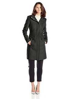 Kenneth Cole Women's Zip-Front Wool Coat with Pockets