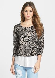 kensie 'Animal Swirl' Layered Look Sweatshirt