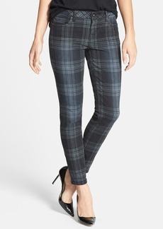 kensie 'Ankle Biter' Overdyed Plaid Skinny Jeans (Grey)