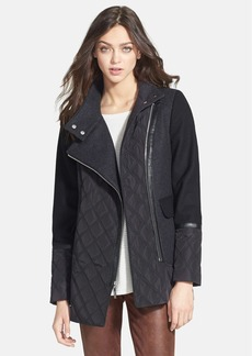 kensie Asymmetric Zip Mixed Media Coat