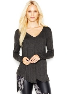 kensie Asymmetrical Long-Sleeve V-Neck Top