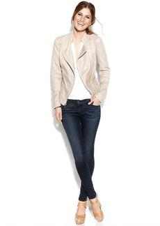 kensie Asymmetrical Perforated Faux-Suede Moto Jacket
