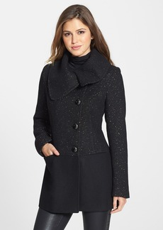 kensie Asymmetrical Tweed & Wool Blend Coat