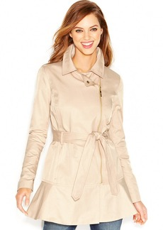 kensie Asymmetrical-Zip Peplum Trench Coat