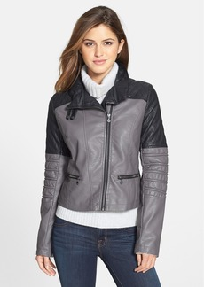 kensie Asymmetrical Zip Two Tone Faux Leather Moto Jacket
