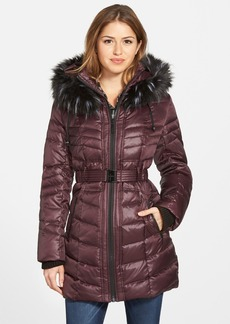 kensie Belted Down & Feather Fill Coat with Faux Fur Trim