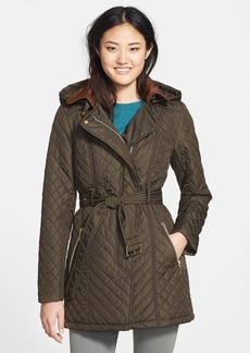kensie Belted Quilted Coat with Detachable Hood