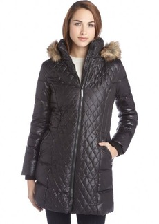 Kensie black quilted down faux fur hood zip up coat