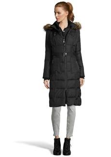 Kensie black quilted down filled three-quarter jacket