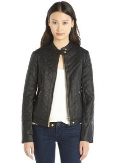 Kensie black quilted faux leather long sleeve jacket