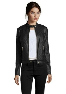 Kensie black quilted faux leather moto jacket