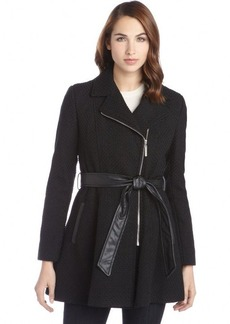 Kensie black textured asymmetrical belted zip up coat