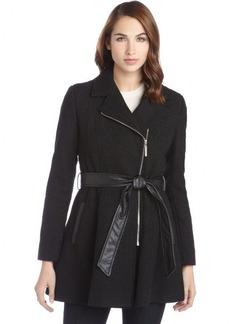 Kensie black textured asymmetrical belted zip up coat