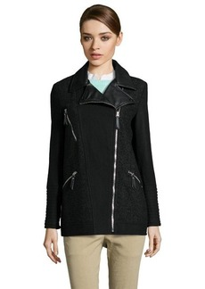 Kensie black wool blend elongated moto style zip front coat