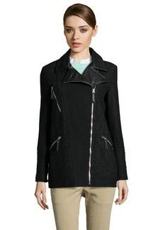 Kensie black wool blend elongated moto style zip front coat