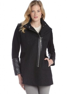 Kensie black wool blend faux leather trimmed zip front coat