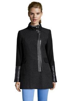 Kensie black wool blend faux leather trimmed zip front coat