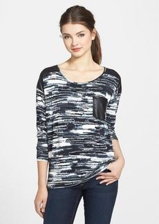 kensie 'Blurry Stripe' Faux Leather Trim Print Sweatshirt