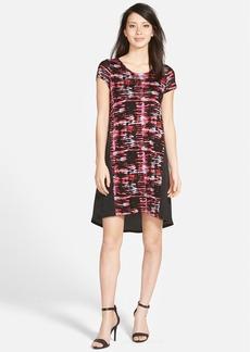 kensie 'Broken Stripe' Mixed Media Shift Dress