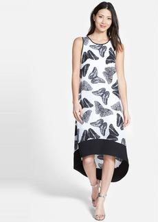 kensie 'Butterflies' Print Sleeveless Elliptical Hem Shift Dress