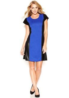 kensie Cap-Sleeve Colorblocked Mixed-Media Dress