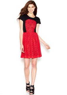 kensie Cap-Sleeve Lace-Overlay Dress