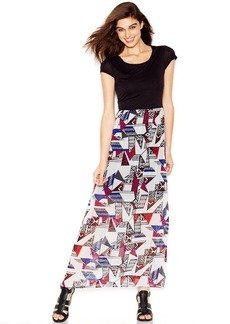 kensie Cap-Sleeve Mixed-Media Printed Maxi Dress