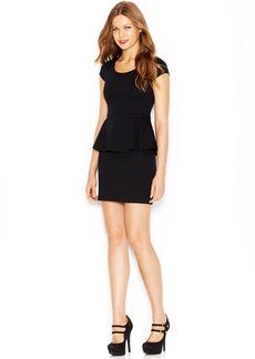 kensie Cap-Sleeve Scoop-Neck Layered-Look Peplum Dress