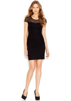 kensie Cap-Sleeve Scoop-Neck Mixed-Media Dress