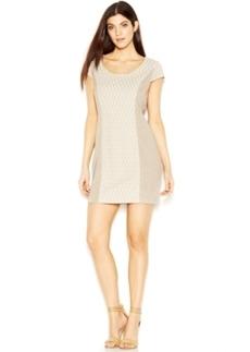 kensie Cap-Sleeve Scoop-Neck Paneled Dress