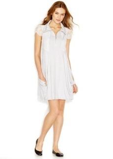 kensie Cap-Sleeve Stand-Collar Solid Dress