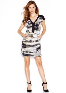 kensie Cap-Sleeve V-Neck Printed Dress