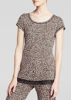 Kensie Chai Animal Print Short Sleeve Pajama Top