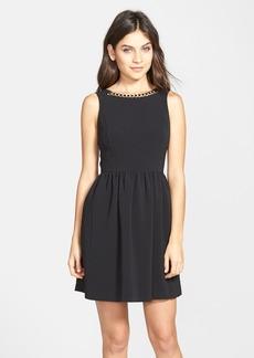 kensie Chain Detail Textured Fit & Flare Dress