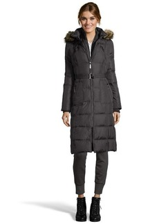 Kensie charcoal grey quilted down filled three-quarter jacket