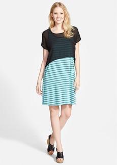 kensie Chiffon Popover Stripe Jersey Dress