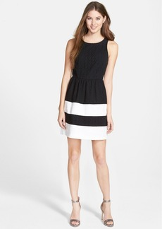 kensie Colorblock Daisy Eyelet Dress