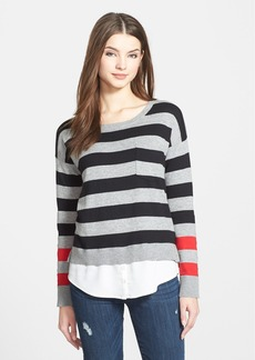 kensie Colorblock Stripe Layered Look Sweater