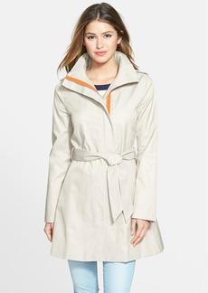 kensie Contrast Trim Belted Trench Coat