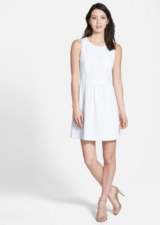 kensie Cotton Eyelet Fit & Flare Dress