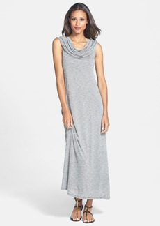 kensie Cowl Neck Slub Jersey Maxi Dress