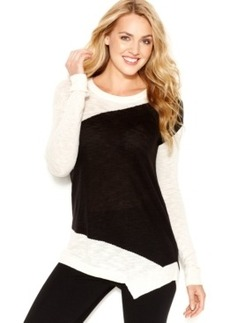 kensie Crew-Neck Asymmetrical Colorblocked Sweater