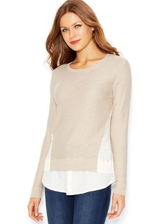 kensie Crew-Neck Colorblocked Mixed-Media Sweater