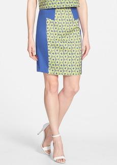 kensie 'Crinkle Daisy' Colorblock Pencil Skirt